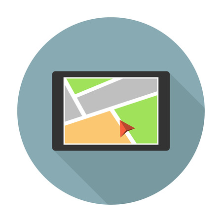 car navigation: Car navigation device. Mobile gps navigation flat icon
