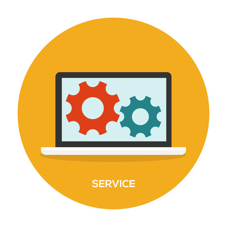 pc tune: Laptop with wheels on screen. Maintenance service illustration