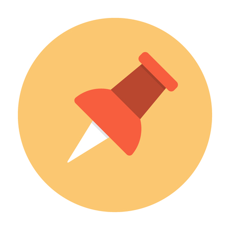 attach: Push pin icon flat. Office tool. Reminder or attach symbol
