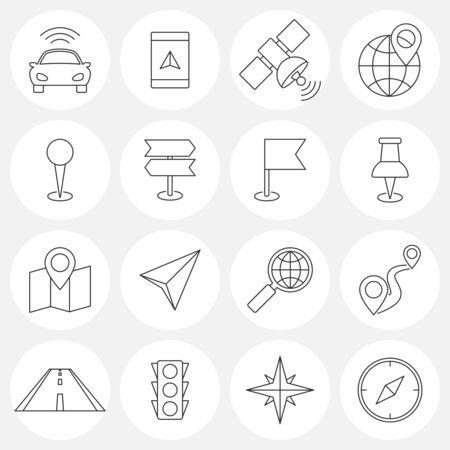 locations: Navigation line icons. Locations and orientation icons concept