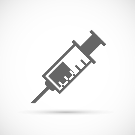 an injector: Medical syringe icon. Medical tool vector illustration