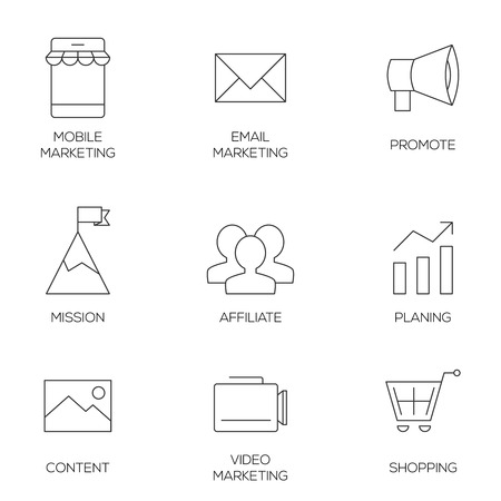 affiliate: Business marketing outline icons. Affiliate and promotion marketing Illustration