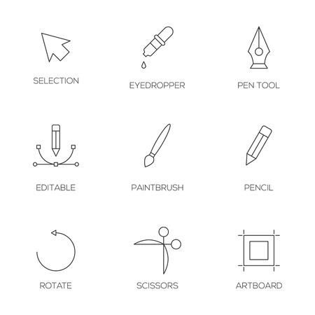 artboard: Graphic designer tools outline icons. Vector illustrator tools
