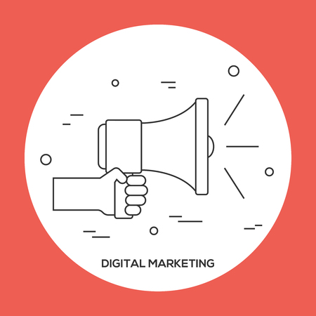Hand holding megafoon. Digitale marketing concept. Business thema