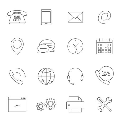 adress: Contact us outline icons. Support feedback service icons Illustration