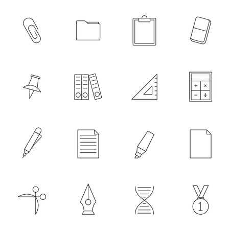 calc: School education outline icons vol 2. School equipments set Illustration