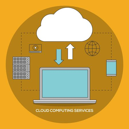 cloud computing services: Cloud computing services. Data exchange ilustration Illustration