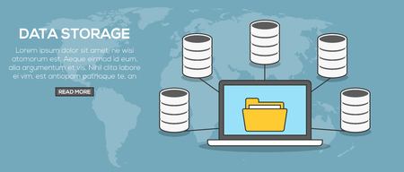 Data storage concept . Laptop communication with servers on word map background Illustration
