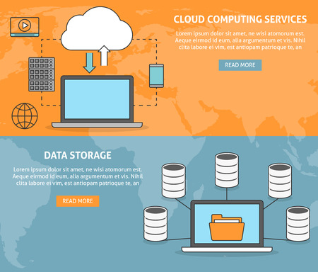 cloud computing services: Cloud computing services and technology, data storage banners set Illustration