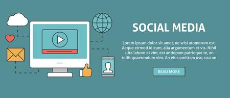 communication concept: Social media concept .  Online communication outline icons