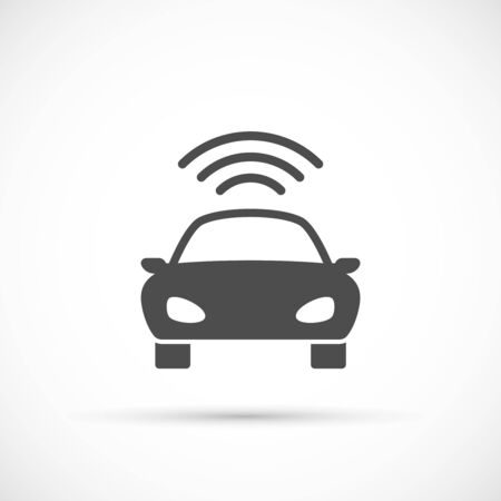 receives: Car basic icon. Car receives a signal from the satellite