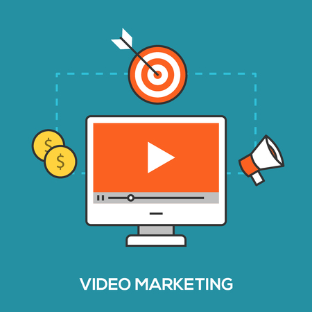 Video marketing concept. Video player on computer screen