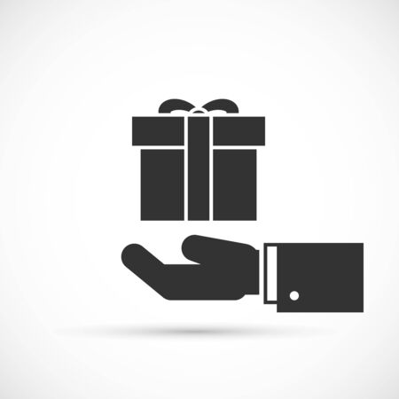 altruism: Gift box in hand icon. Male hand holding gift with ribbon