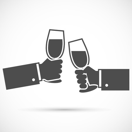 sparkling: Sparkling champagne glasses. Two hands holding wine glasses