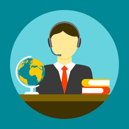 translator: Translator man flat icon. Assistant sitting at a table with books and globe Illustration