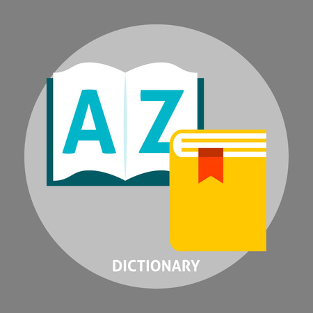 interpretation: Dictionary book flat icon. Education language concepts in flat style