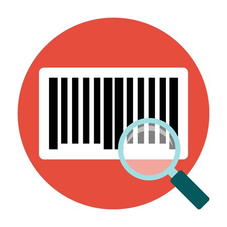 Identification barcode sticker. Magnifying barcoce sticker. Flat icon Illustration