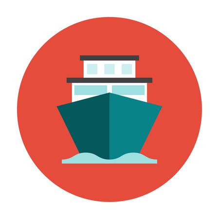 navy pier: Ship on the sea water flat icon. Shipping cargo ship
