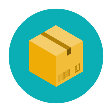 corrugated box: Cardboard box for packaging. Closed cardboard box flat icon Illustration