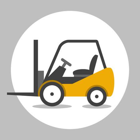 fork lifts trucks: Forklift truck cargo. Loader vector flat icon
