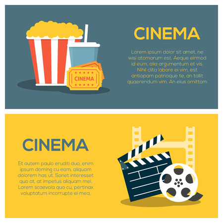Cinema concept poster template with popcorn and soda, film strip and clapper board