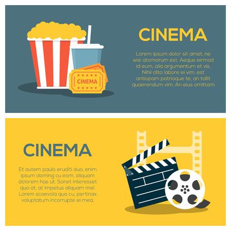 Modèle d'affiche de concept de cinéma avec pop-corn et soude, bande de film et panneau de battant Banque d'images - 58393175