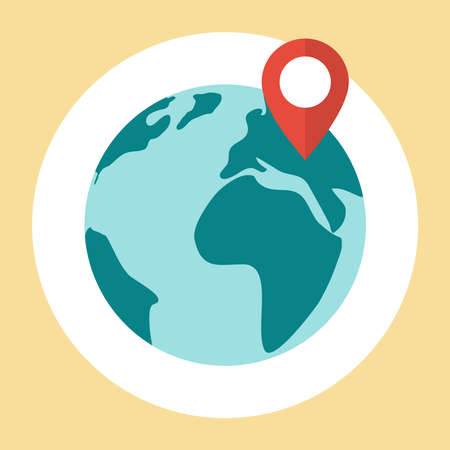 Flat planet earth icon. Pin map icon on globe Illustration
