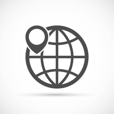geo: Globe with pin icon. Geo location sign. Geotagging globe vector concept