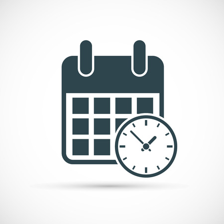 Calendar with clock icon. Timetable vector illustration