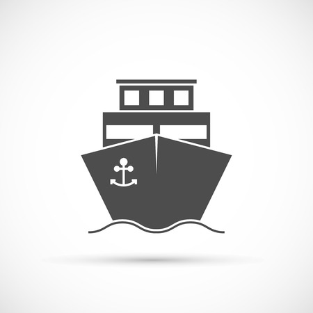 docks: Ship icon isolated. Delivery of cargo ship Illustration
