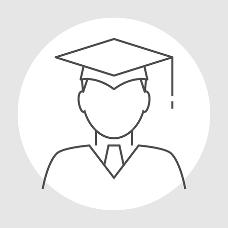 learner: Graduate avatar line icon. Head of the student learner