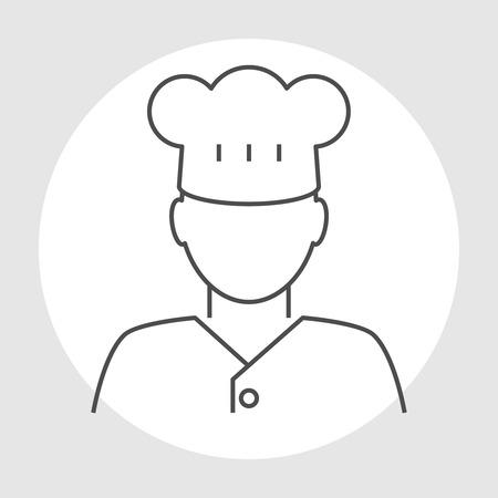 Cook profesion avatar line icon. Male chef