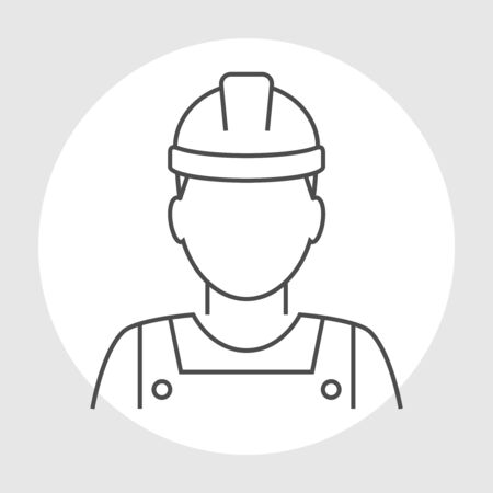 industrial worker: Worker avatar line icon. Industrial worker person