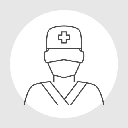 surgeons hat: Doctor avatar line icon. Surgeon doctor in medical clothes