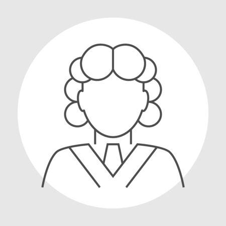 Judge avatar line icon. Judge in a wig Illustration
