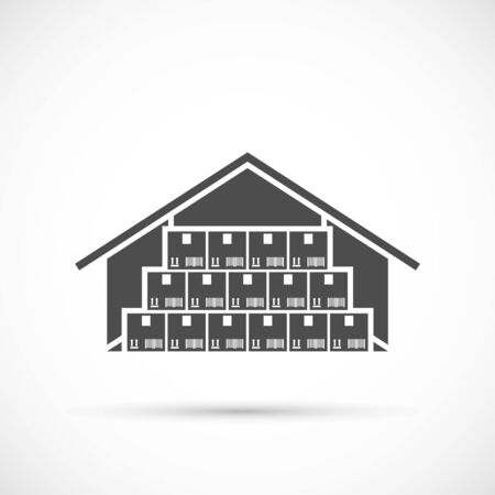 Warehouse icon on white. Cardboard boxes in a warehouse illustration