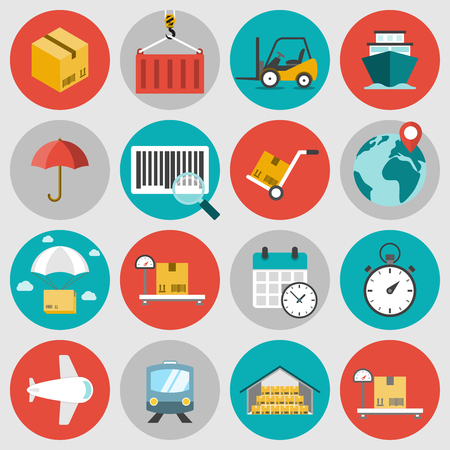 Logistic flat icons set. Concepts of delivery, shipping process, ecommerce and logistics Illustration