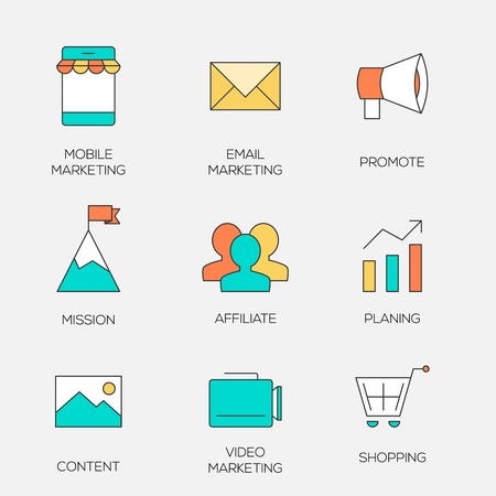 Business marketing color line icons. Affiliate and promotion marketing Illustration