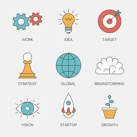 Business creative color line icons. Business brainstorming process