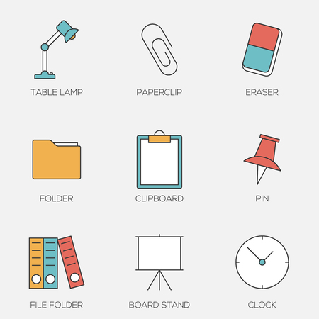 Office tools color line icons. Business office equipments