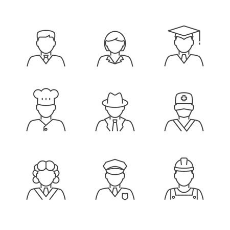 female judge: People avatars set. Various human characters staff outline icons