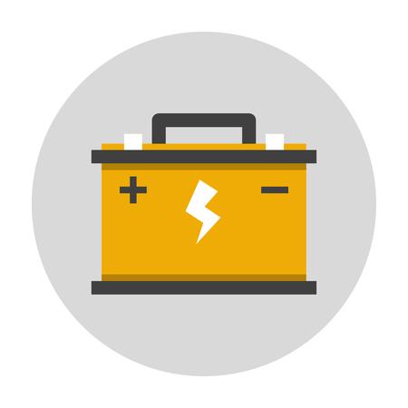 12v: Car battery flat icon. Car repair service icon Illustration