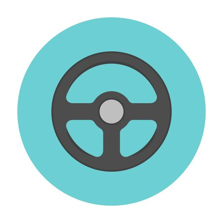 spare part: Steering wheel flat icon. Car repair service spare part