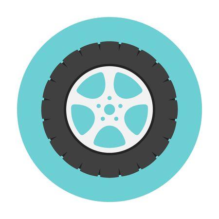 spare part: Car wheel flat icon. Car repair service spare part