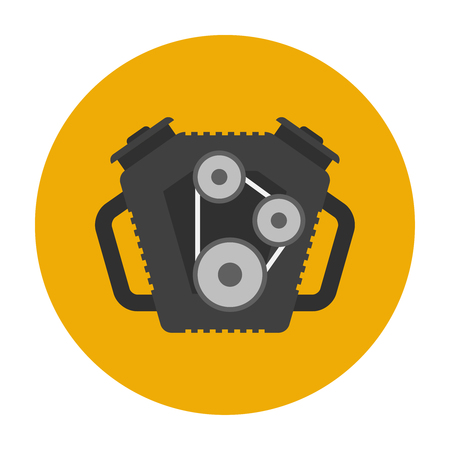spare part: Car engine flat icon. Car repair service spare part