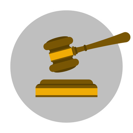 Wooden judge gavel flat icon. Justice symbol Illustration