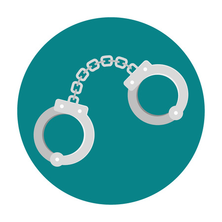 metal handcuffs: Handcuffs flat icon. Pair of lockable linked metal rings Illustration