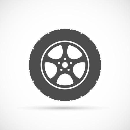 spare part: Car wheel icon. Car repair service spare part Illustration