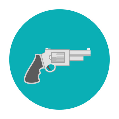 caliber: Revolver pistol icon flat. Revolver security caliber