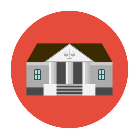 ministry: Courthouse icon flat. Bank or courthouse building icon Illustration